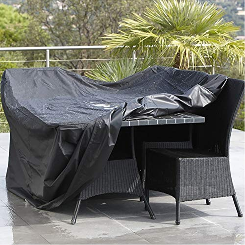 LWL House Anti-UV imperméable à la poussière 210D Oxford Tissu Table Pliante Chaises Housse de Protection Housse de mobilier d extérieur, Taille: 242 * 162 * 100cm (Noir) Haute qualité