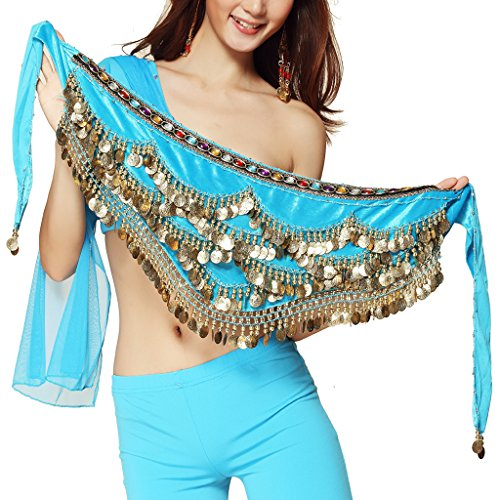 Danza del ventre, da donna, costume da danza del ventre, con cintura e gonne Azzurro Einheitsgröße