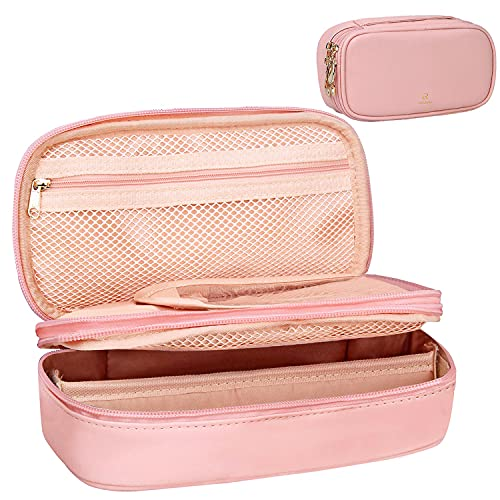 Relavel Makeup Bag Small Travel Cosmetic Bag for Women Girls Makeup Brushes Bag Portable 2 Layer Large Capacity Cosmetic Case Brush Storage Organizer Pouch Christmas Gifts Purse Waterproof Toiletry Bag (Pink)