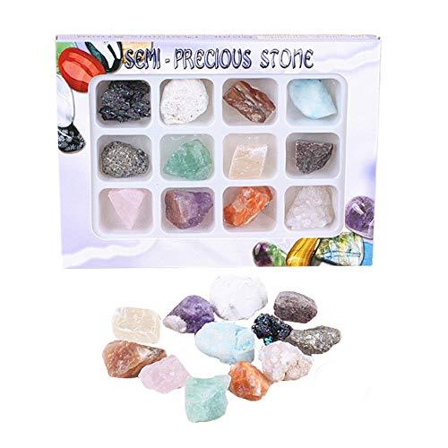 LQKYWNA Gems Rock Mineral Specimen Juguetes Educativos con Caja De Colección Gran Regalo De Ciencia para Entusiastas De La Mineralogía Y La Geología De Cualquier Edad