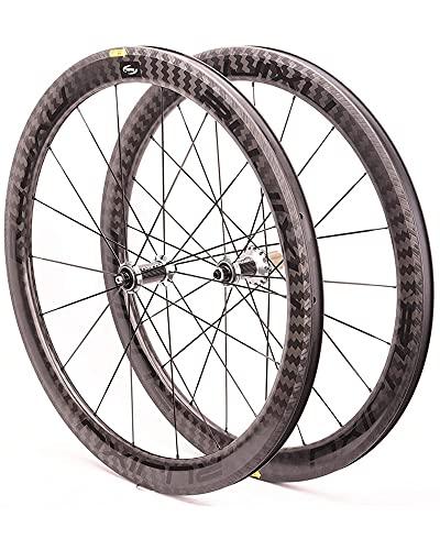 Juego De Ruedas De Bicicleta De Carretera 700C, Llanta De Fibra De Carbono Ultraligera, Ruedas De Freno En V, Liberación Rápida, Buje De 8-11 Velocidades,Negro,38MM