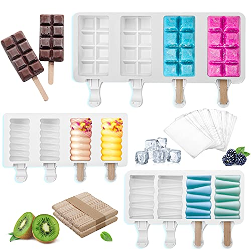 Silicone Popsicle Molds, 3 Pcs Cake Pop Molds Silicone Ice Pop Molds Bpa Free Reusable Ice Cream Maker, Chocolate Popsicle Set With 100 Sticks, 100 Popsicle Bags For Kids (B)