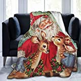 Dujiea Christmas Vintage Santa Fuzzy Flannel Blanket Throw 40'X50', Super Soft Lightweight Blanket Throw for Couch Chair Sofa, Cozy Bed Blanket for Kids Adults