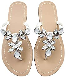 White Patent Leather Rhinestone Flat Flip Flop Sandal