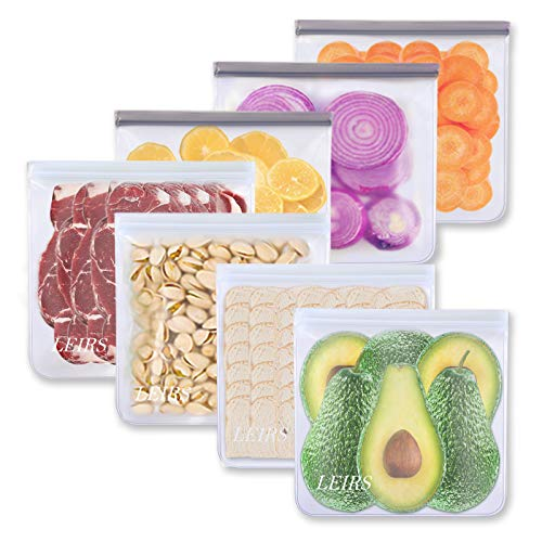 Reusable Gallon Freezer Bags - 7 Pack Reusable Food Storage Bags, Reusable Lunch Bags Leakproof Silicone & Plastic Free for Marinate Meats, Cereal, Sandwich, Snack, Travel Items