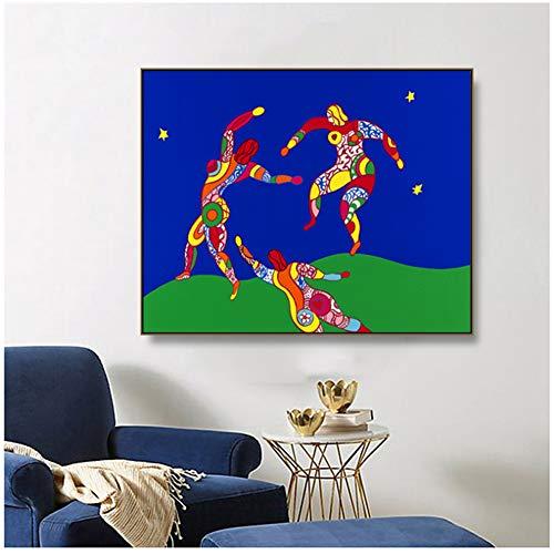 ASLKUYT Niki De Saint Phalle Der Tanz Abstrakte Malerei auf Leinwand Zeichnung Kunst Spray Wandkunst für Wohnzimmer Schlafzimmer -50x60cm No Frame
