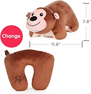 Kenmont Soft Travel Pillow, Neck Pillow for Restful Sleep on an Airplane - Chin Supporting Patented U-Shape Pillow & Animal Plush Doll for Kids Room Decor Monkey