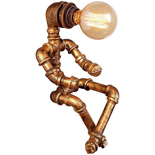 KMYX Vintage Tafellamp Waterpijp Steampunk Rustieke Tafel Licht Amerikaanse Lezen Robot Bureau Lichten voor Home Studie Kamer Slaapkamer Bibliotheek Hotel Desktop Lights