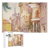 古い建物の水彩画 木製パズル大人の贈り物子供の誕生日プレゼント(50x75cm)1000ピースのパズル