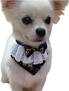 Yu-Xiang Dog Flower Bandana with Bowtie Adjustable Pet Sakura Collar Cats Triangle Bibs Japanese Style for Small Medium Dogs