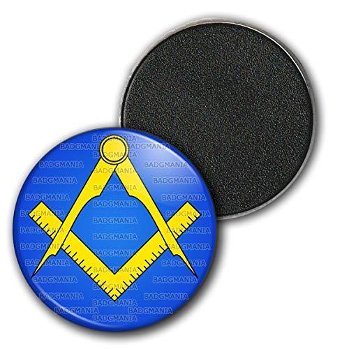 Badgmania Magnet Aimant Frigo 3.8cm Compas Equerre Francs-Maçons Symbole Maçonnique Jaune Fond Bleu