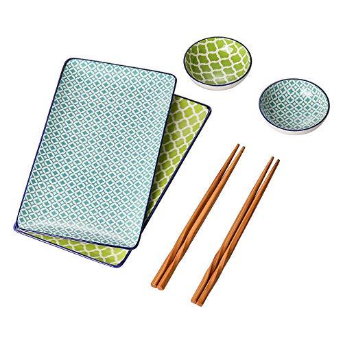vancasso Macaron Set Piatti Sushi in Ceramica 6 Pezzi Stile Giapponese Dinpinto a Mano Azzurro Verde Set da Sushi per 2 Persone con 2 Piattini per Salse 2 Piatti da Sushi 2 Bacchette di bambù