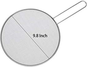 Splatter Screen for Frying Pan-Protect Skin form Burn-Splatter Guard Fits Most Pans and Prevents Oil Splatters-Food Grade 304 Stainless Steel-Suitable for Cooking,Frying,Straining & More 9.8 inch