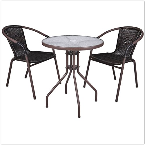SSITG Set of 3 Bistro Set Garden Furniture Rattan Garden Furniture Patio Furniture