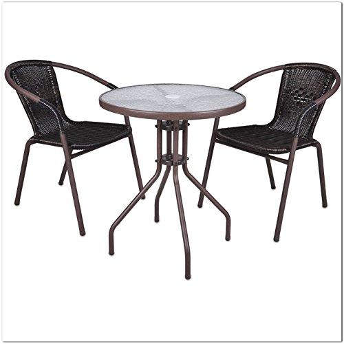 SSITG Set Bistro Set Salottino salotto da giardino rattan mobili da giardino terrazzo Mobili