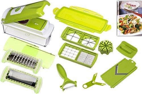 Genius 33975 Nicer Dicer Plus, Multischneider, 14 teiliges Set, grün