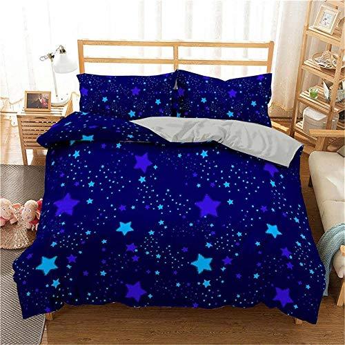 Ropa de cama estampada, juego de edredón doble, juego de cama Galaxy con estampado 3D, funda nórdica azul cielo estrellado, ropa de cama, juego de cama individual completo, funda de edredón y funda de