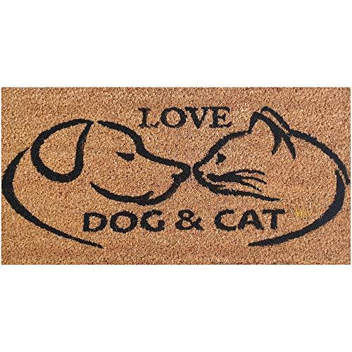 Bestlivings Zerbino in cocco, 25 x 50 cm, design: gatto e cane, per interni ed esterni, tappetino sottile in PVC