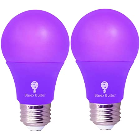 2 Pack BlueX LED A19 Purple Light Bulb - 9W (60Watt Equivalent) - E26 Base LED Purple Bulb, Party Decoration, Porch, Home Lighting, Holiday Lighting, Decorative Illumination (Purple)