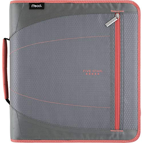 Five Star Zipper Binder, 2 Inch 3 Ring Binder, Removable File Folders, Durable, Gray/Bright Coral (29036IY8)
