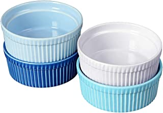 Cinf Ramekins 10 oz Pudding Cup Baking Cup Bowls Dishes, Set of 4,Souffle Cups Dishes, Dipping Sauce,Creme Brulee, Custard...
