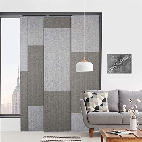 """GoDear Design Deluxe Adjustable Sliding Panel Track Blind 45.8""""- 86"""" W x 96"""" H, Extendable 4-Rail Track, Trimmable Pleated Natural Woven Fabric, London Suit"""