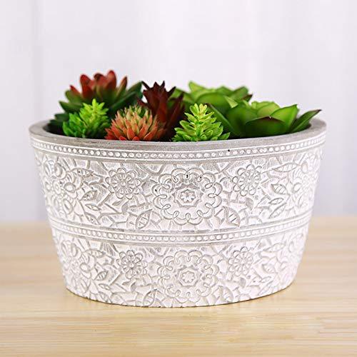 Cemento Macetas De Flores Con Orificio De Drenaje,Redondo Cactus Polas De Plantación,Interior Al Aire Libre Decorativo Garden Pot-D 19x11cm(7x4inch)
