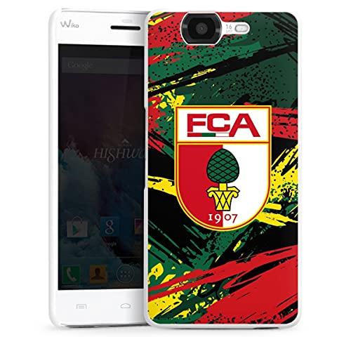 DeinDesign Hard Hülle kompatibel mit Wiko Highway Schutzhülle weiß Smartphone Backcover FC Augsburg Offizielles Lizenzprodukt Streifen
