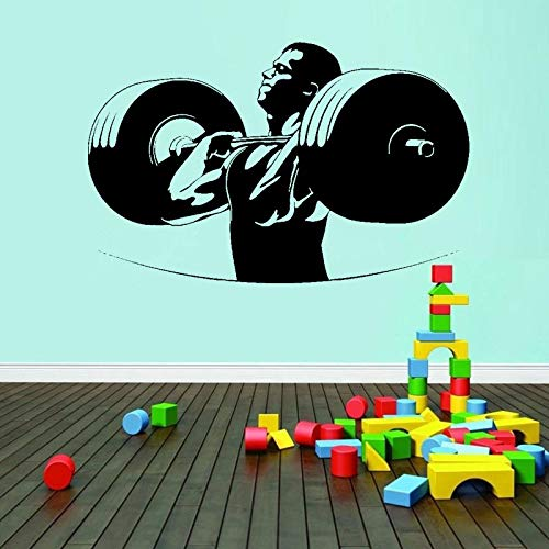 Tianpengyuanshuai Muursticker Fitness Halter Gewichten Muursticker Fitness Heren aftrekplaatjes slaapkamer woonkamer Decoratie Gym