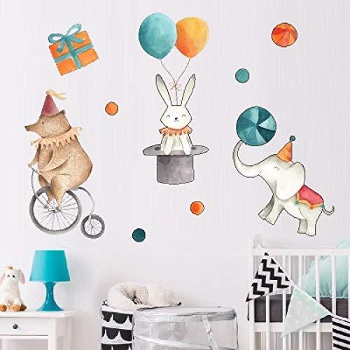 Wall Sticker Cartoon Animal Wall Posters Elephant Rabbit Circus PVC Kids Room Decoration Baby Room Wall Decoration
