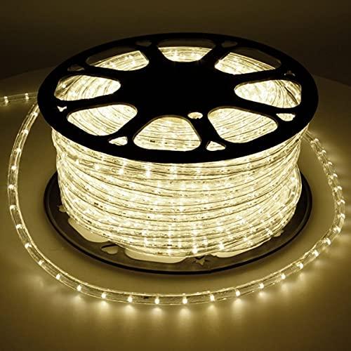 ECD Germany 50m Tube Lumière Lumineaux LED - Blanc Chaud 3000K - 36 LED/m - IP44 - Intérieur/Extérieur - avec Adaptateur Electrique et Embouts Montés - Non Dimmable - Guirlande - Tuyau Lumineuse