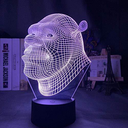 Lámpara de ilusión 3D Luz de noche LED Shrek Head Holograma para niños Decoración de dormitorio infantil Lámpara de mesa con pilas USB Los mejores regalos de vacaciones de cumpleaños para niños