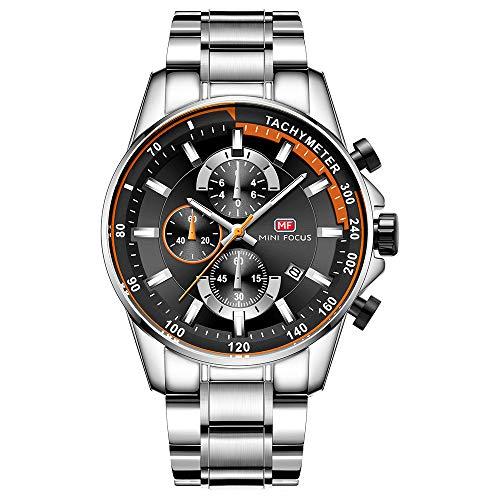 AOUWMM Herren Armbanduhren Business Waterproof Fashion Quarzuhr Edelstahlarmband Digital Luminous Sportkalender Silber Schwarz Blau,Silver