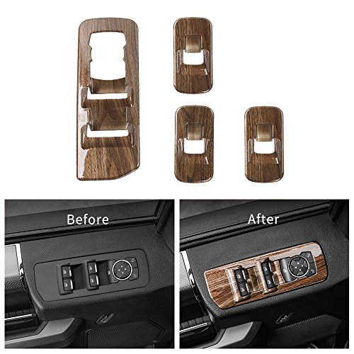 Voodonala Wood Grain Window Lift Panel Switch Covers Trim for 2015 2016 2017 2018 Ford F150 Accessories