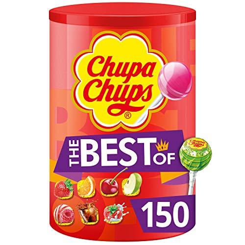 Chupa Chups - Tubo 150 Sucettes The Best Of - Sucettes à la Pulpe de Fruit + Sucettes Cola et Milky - Idéal pour Fêtes d'Anniversaires- Boite Chupa Chups de 1,8 Kg