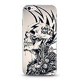 Coque iphone 6 6s Tete De Mort 29 Punk Hard Rock Metal Crane Noir Silicone Gel