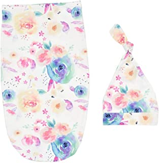 SuperiMan Hospital Swaddle Sack Hat Set,Receiving Blanket for Newborns Baby,Perfect for Girls and Boys (Watercolour Flowers)