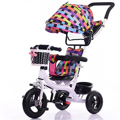 Cochecito de bebé Niños de interior al aire libre pequeño triciclo / pedal inflable de la rueda de bicicleta / 7 meses-6 años de edad carrito de bebé con toldo (multicolor) Freno de rueda de espuma