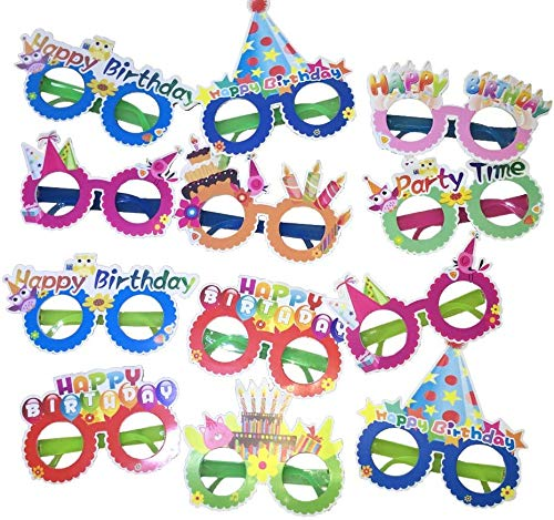 Happy Birthday Glasses,12 Pieces Photo Booth Props
