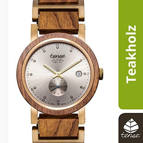 TENSE Holzuhr Herren Teakholz Ø 40 mm Armbanduhr Hudson analog Quarz B4801T-G-S