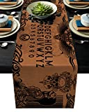 Anoreya Cotton Linen Dining Table Runner Halloween Witch Divination Ouija Board Non-Slip Heat Resistant Table Runners for Family Dinner Kitchen Table,13x90 Inch
