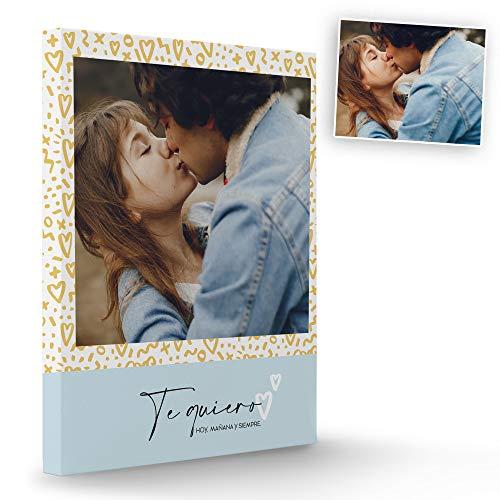 Fotoprix Lienzo Enamorados Personalizado con Foto y Texto   Regalo parejas y novios   Día de San Valentín   Varios diseños y tamaños (Te quiero, 40 x 50 cms)