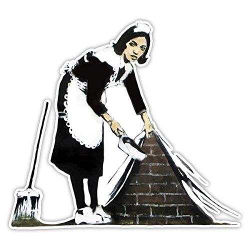 Banksy Zimmermädchen Design | Art Wand Graffiti Vinyl Aufkleber | Urban Art Fenster, Auto, Laptop Aufkleber - Large - 20x22cm