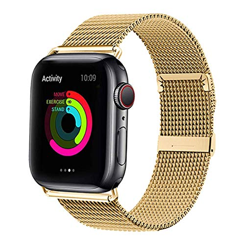Pulsera de acero inoxidable Banda MAGNÉTICA para Apple Watch 5 4 3 2 1 42 mm 38 mm Correa de pulsera para Iwatch 4 5 40 mm 44 mm-Dorado, para 42 mm o 44 mm