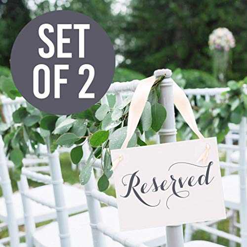 2 Reserved Signs Wedding Chair Decor Saved Seat Banners for Family at Wedding Ceremony, Conference, Church or Event | Slate ink on Ivory Linen Cardstock with Ivory Ribbon Set of 2 Reserved Seat Signs
