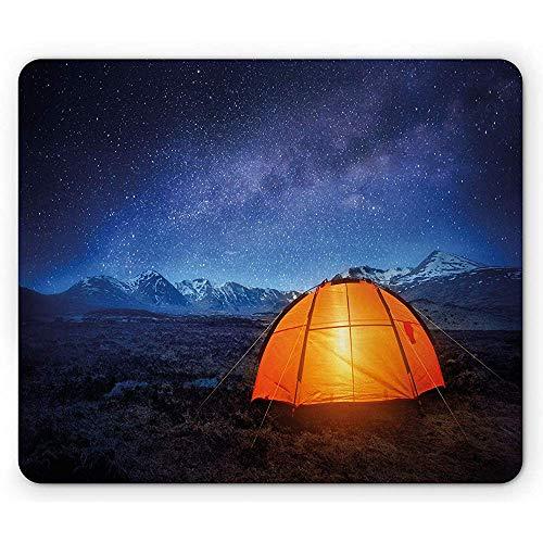 Nachtmaus-Pad,Campingzelt Unter Einem Nachthimmel Voller Sterne Urlaubsabenteuer Im Freien Erkunden,Rechteckiges Rutschfestes Gummi-Mauspad,Standardgröße,Blau-Orange