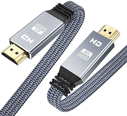 HDMI 2.0 Cable 3.3ft, Snowkids 4K@60Hz High Speed 18Gbps HDMI 2.0 Cable, Flat Braided HDMI Cord Support 3D 4K HDR 2160P 1080P ARC Ethernet, Compatible with 4K TV/HD TV PC Blu-ray Projector-Gray