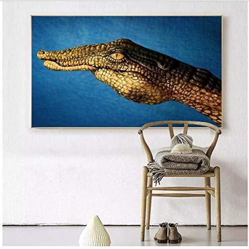 Kleurrijk op canvas op doek poster foto maken krokodil met gebaar 50x75cm geen frame