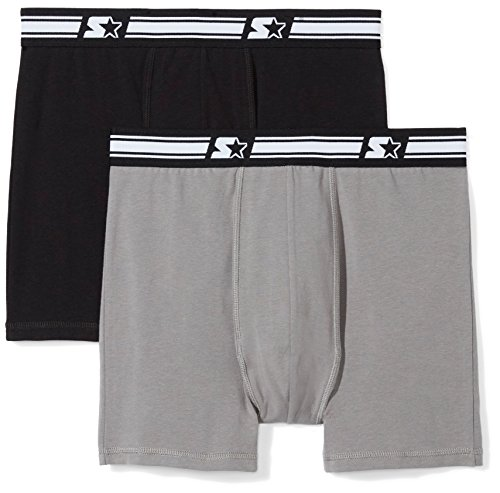 Starter Men's 2-Pack Stretch Performance Cotton Boxer Brief, Amazon Exclusive, Black/Iron Grey, Medium