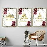 LIANGX Cuadro decorativo en lienzo con diseño de mandala islámica, 3 piezas, sin marco, decoración para el salón (3 x 70 x 100 cm)